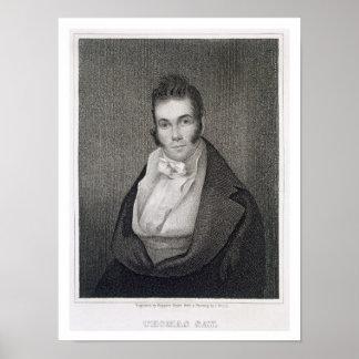 Thomas Say (1787-1834), grabado por Henry Hoppner Poster