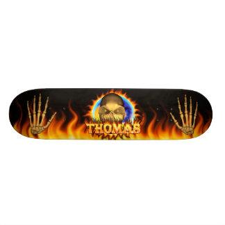 Thomas skull real fire and flames skateboard desig
