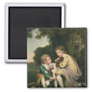 Thomas y José Pickford como niños, c.1777-9 Imán Cuadrado