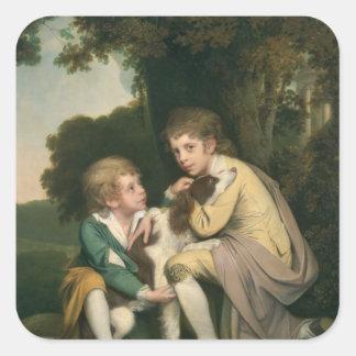 Thomas y José Pickford como niños, c.1777-9 Pegatina Cuadrada