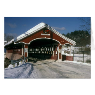 Thompson Covered Bridge in winter Swanzey NH Greeting Cards