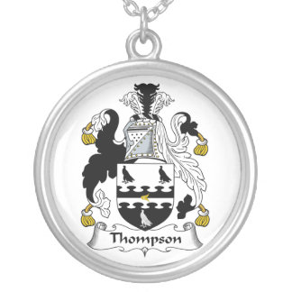 Thompson Family Crest Round Pendant Necklace
