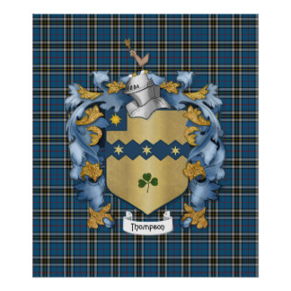 Thompson Family (Irish) Coat of Arms Poster