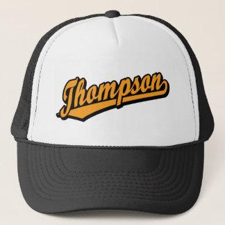 Thompson in Orange Trucker Hat