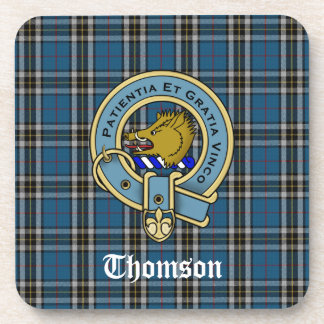 Thomson Dress Tartan Plaid and Clan Crest Badge Coaster