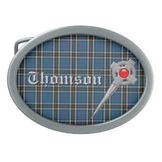 Thomson Tartan Plaid with Name and Faux Celic Pin Oval Belt Buckle