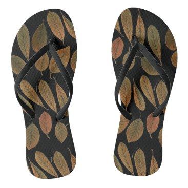 Beach Themed Thongs black bottom and printing of brown leaves flip flops