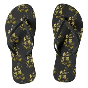 Beach Themed Thongs of summer in golden black and for flip flops
