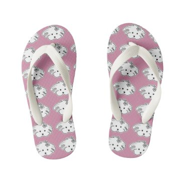 Beach Themed Thongs young pink small dog, the world of Lua Kid's Flip Flops