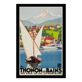 Thonon Les Bains French Travel Europe Poster