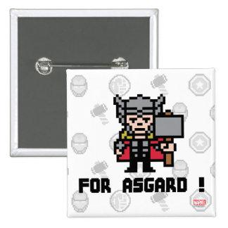 ¡Thor 8Bit - para Asgard! Pin Cuadrado