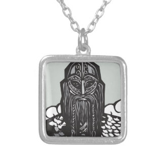 Thor and Mjolnir Square Pendant Necklace
