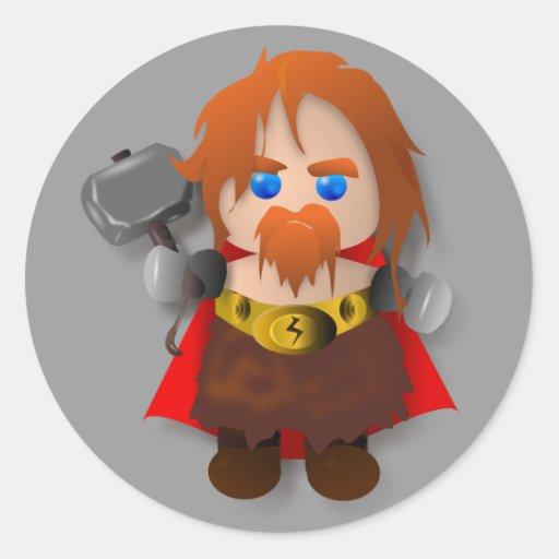 Thor de Chibi con el martillo Etiqueta Redonda