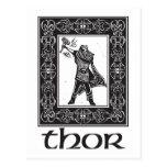 Thor de dios de los nórdises postales