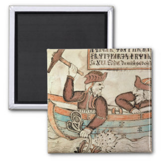 Thor fishing for the serpent of Midgard 2 Inch Square Magnet