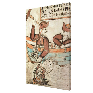 Thor fishing for the serpent of Midgard Canvas Print