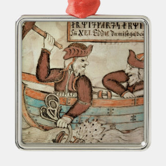 Thor fishing for the serpent of Midgard Metal Ornament