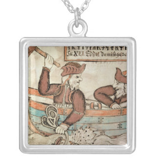 Thor fishing for the serpent of Midgard Silver Plated Necklace