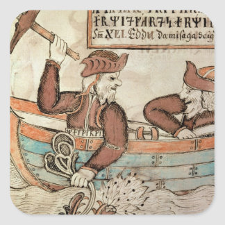 Thor fishing for the serpent of Midgard Square Sticker