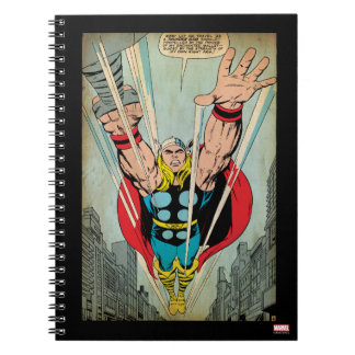 Thor Flying Through City Comic Panel Notebook