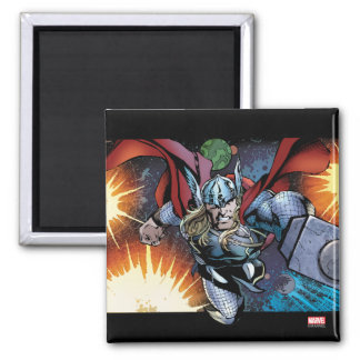 Thor Flying Through Space Comic Panel 2 Inch Square Magnet