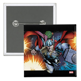 Thor Flying Through Space Comic Panel Button