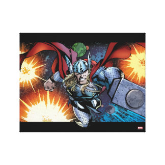Thor Flying Through Space Comic Panel Canvas Print