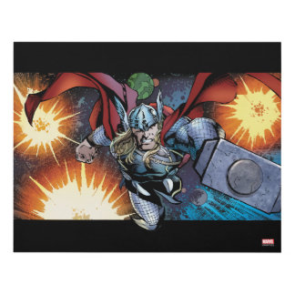 Thor Flying Through Space Comic Panel Panel Wall Art