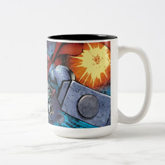 Thor Flying Through Space Comic Panel Two-Tone Coffee Mug