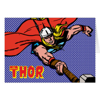 Thor Flying With Mjolnir Card
