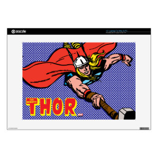Thor Flying With Mjolnir Laptop Decals