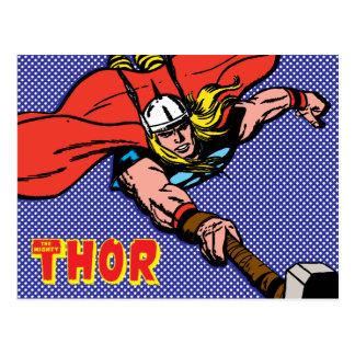 Thor Flying With Mjolnir Postcard