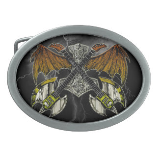 Thor Hammer of the Gods Guitars Oval Belt Buckles
