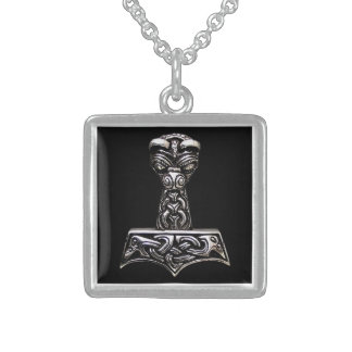 thor hammer square pendant necklace