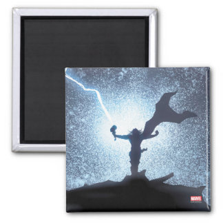 Thor Lightning Comic Panel 2 Inch Square Magnet