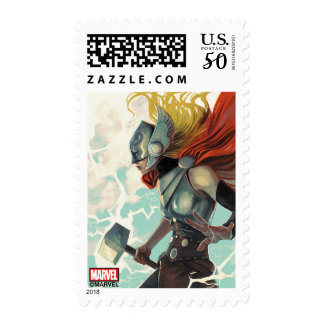 Thor Profile With Mjolnir Postage