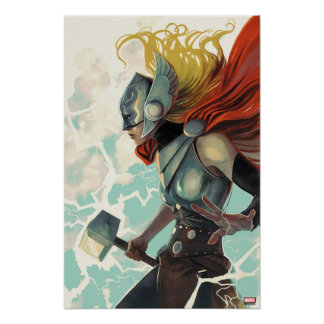 Thor Profile With Mjolnir Poster