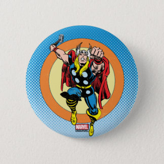 Thor Punch Attack Retro Graphic Button
