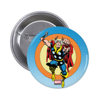 Thor Punch Attack Retro Graphic Button