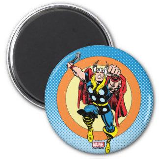 Thor Punch Attack Retro Graphic Magnet