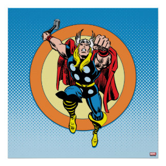 Thor Punch Attack Retro Graphic Poster