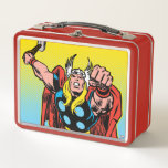 """Thor Punching Attack Metal Lunch Box<br><div class=""""desc"""">Check out this vintage comic book art of The Mighty Thor leaping forward with a mighty punch attack!</div>"""