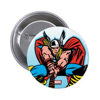 Thor que balancea Mjolnir adelante Pin Redondo De 2 Pulgadas