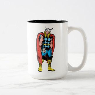 Thor que coloca arte cómico retro alto taza de café de dos colores