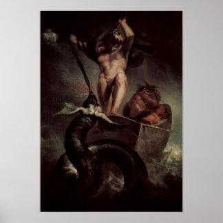 Thor que estropea la serpiente de Midgard Póster