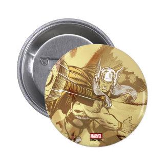 Thor que lanza Mjolnir Pin Redondo De 2 Pulgadas