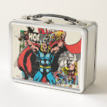 "Thor Retro Comic Collage Metal Lunch Box<br><div class=""desc"">Check out this vintage comic book art of Thor,  arms raised in a show of power,  standing in front of a collage of his retro comic book covers.</div>"