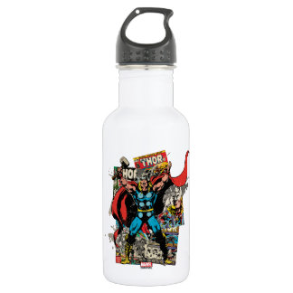 Thor Retro Comic Collage Stainless Steel Water Bottle