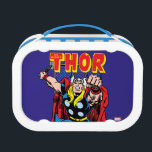 """Thor Retro Comic Graphic Lunch Box<br><div class=""""desc"""">Check out this retro comic book art of Thor lunging to attack,  overlaid atop the Marvel Comics Group panel as seen on his vintage comic book series!</div>"""