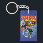 """Thor Retro Comic Price Graphic Keychain<br><div class=""""desc"""">Check out this vintage comic book art of Thor throwing his hammer,  overlaid atop the retro comic book price info panel as seen on his original comic book series!</div>"""